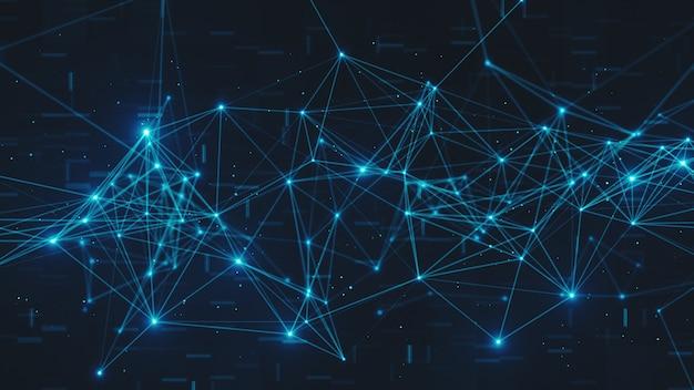 Абстрактное мигание подключенных узлов цифровых данных и путей подключения в любом типе сети 3d иллюстрации
