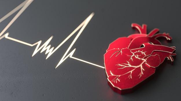 Абстрактное плоское сердце на концепции каменной поверхности. медицинский или хирург копирует шаблон веб-сайта пространства для слайдера. 3d иллюстрация