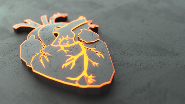 Abstract flat heart on the stone surface concept.
