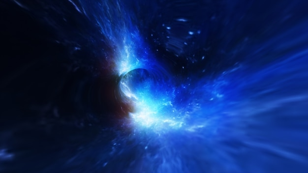 Abstract flight in a black hole in space