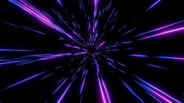 Абстрактный полет в гипердуговом пространстве со скоростью света в туннеле времени, рендеринг 3 premium фотографии
