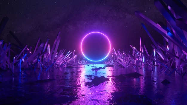 Abstract flight, neon light ring shape, mysterious space landscape, forward flight through the corridor of crystals