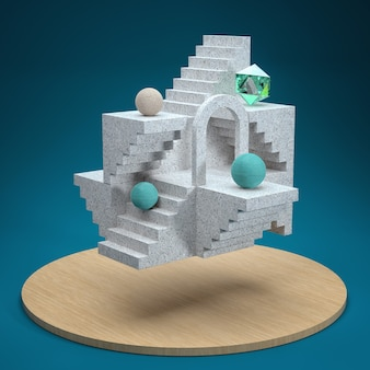 Abstract floating architectural structure with steps and marble staircase. spheres and a hexagon. render 3d