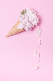 Abstract floral ice cream cone with petals