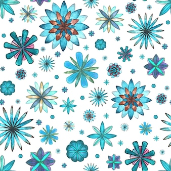 Abstract floral seamless ethnic boho pattern. watercolor hand drawn blue teal turquoise brown flowers texture on white background. wallpaper, wrapping, textile, fabric