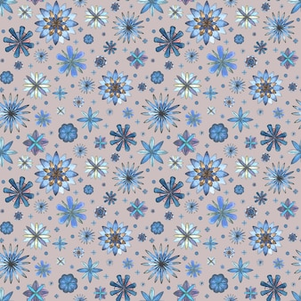 Abstract floral seamless ethnic boho soft pattern. watercolor hand drawn blue teal turquoise brown flowers texture on gray background. wallpaper, wrapping, textile, fabric