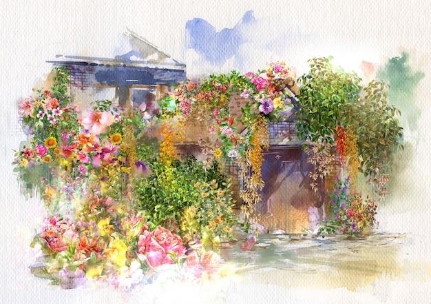 壁に抽象的な花、屋根の水彩画。