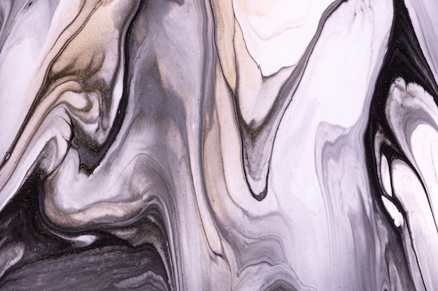 Abstract fluid art background black and white colors