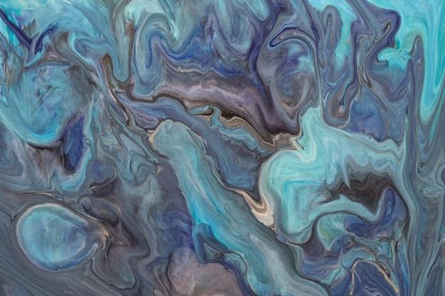 추상 유체 아트 배경 파란색과 보라색 색상. 액체 대리석. 그라데이션 캔버스에 아크릴 페인팅. 청록색 패턴으로 잉크 배경 막입니다.