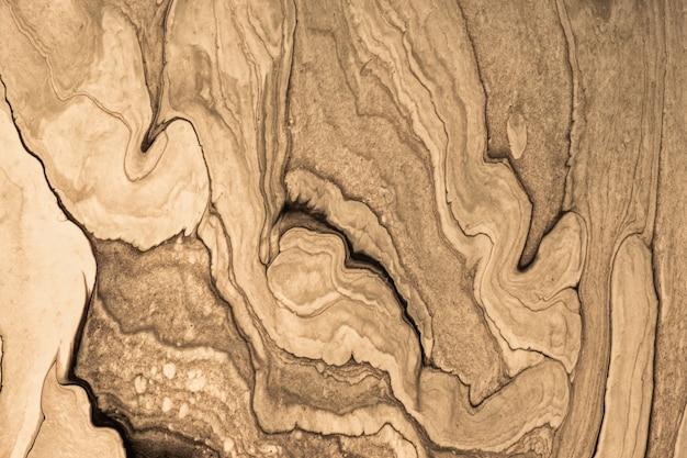 抽象的な流体アートの背景の茶色とベージュ色。液体大理石。ブロンズのグラデーションでキャンバスにアクリル画。波状のパターンの水彩画の背景。石のセクション。