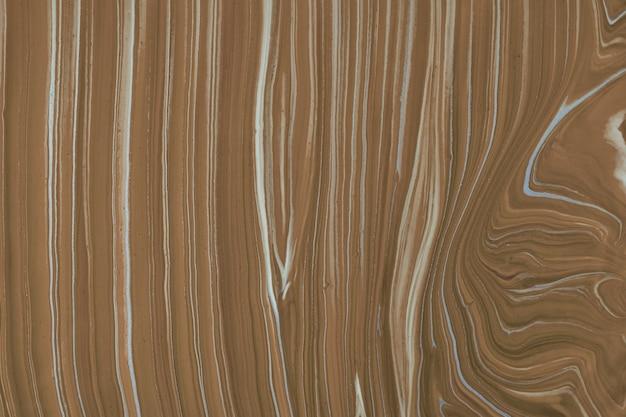 抽象的な流体アートの背景ダークブラウンと白の色。液体大理石。ベージュのグラデーションでキャンバスにアクリル画。波状のパターンの水彩画の背景。石のセクション。