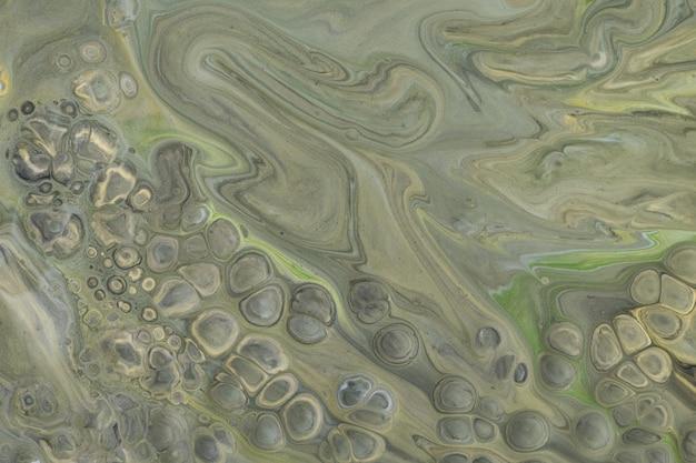 抽象的な流体アートの背景ダークグリーンとグレーの色
