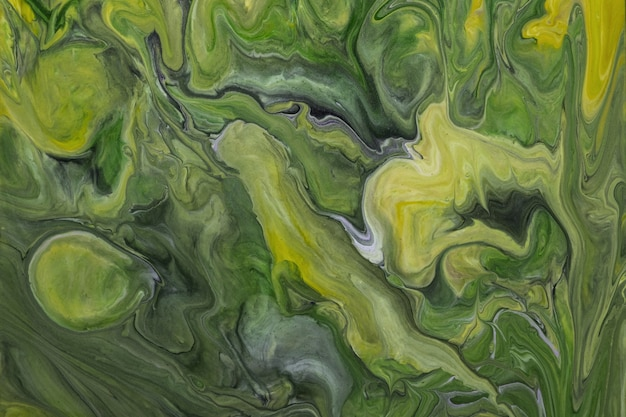 Abstract fluid art background dark green and olive colors. liquid marble. acrylic painting on canvas with gradient and splash