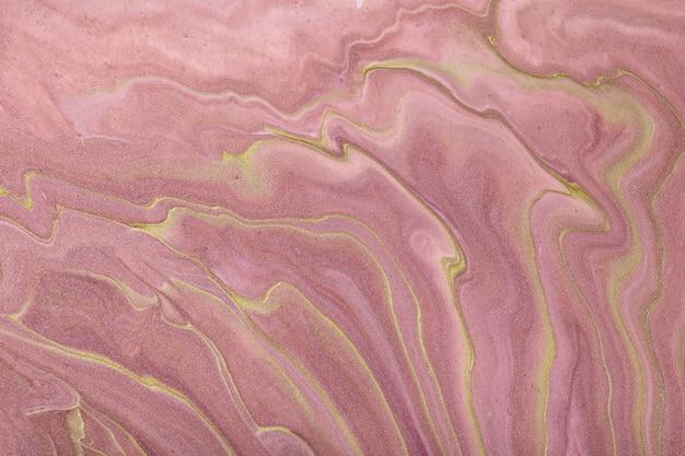 抽象的な流体アートの背景の濃いピンクと金色。液体大理石。ライラックのグラデーションとスプラッシュのアクリル画。