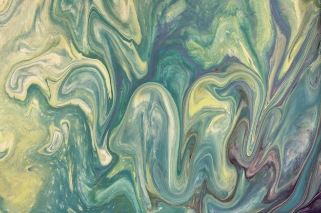 抽象的な流体アートの背景水色と黄色の色