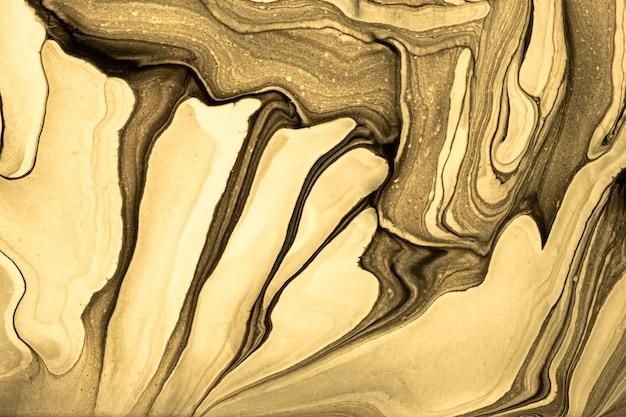 抽象的な流体アートの背景ライトゴールデンと色。液体大理石。黄色のグラデーションのアクリル画。