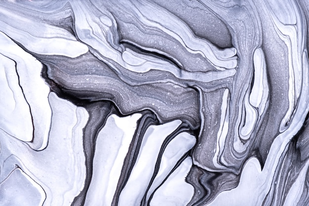 Abstract fluid art background light gray and white colors. liquid marble. acrylic painting on canvas with black gradient. watercolor backdrop with wavy pattern. stone section.