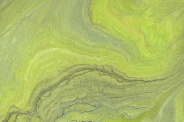 抽象的な流体アートの背景ライトグリーンとグレーの色。液体大理石。オリーブのグラデーションのアクリル画