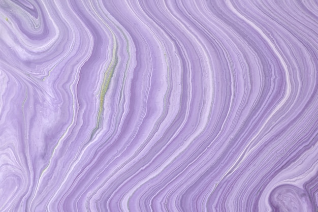 Abstract fluid art background light purple and white colors. liquid marble. acrylic painting on canvas with lilac gradient.
