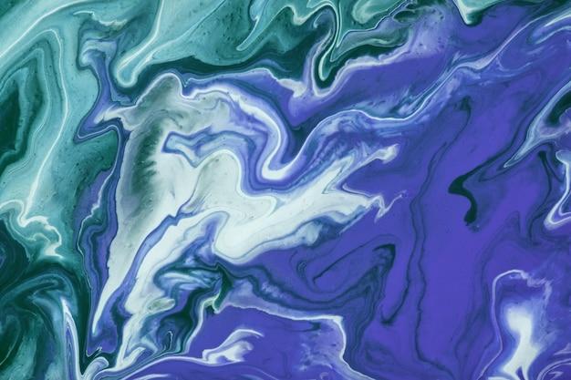 抽象的な流体アートの背景ネイビーブルーとグリーンの色。液体大理石。白い線とグラデーションでキャンバスにアクリル画。ターコイズの波状パターンのアルコールインクの背景。