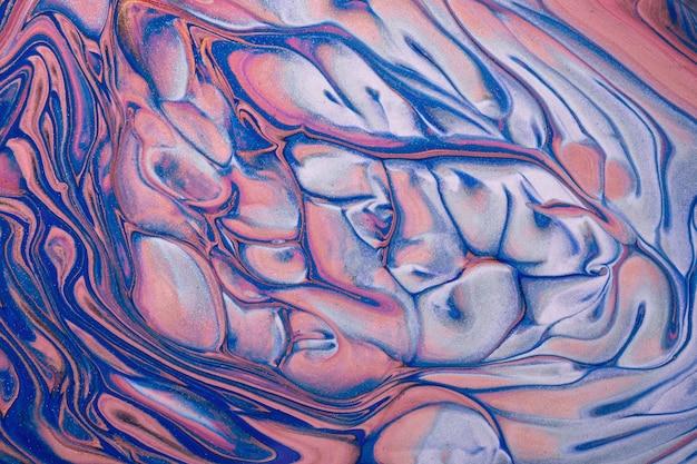 抽象的な流体アートの背景ネイビーブルーとピンクの色。液体大理石。シルバーグラデーションのアクリル画。