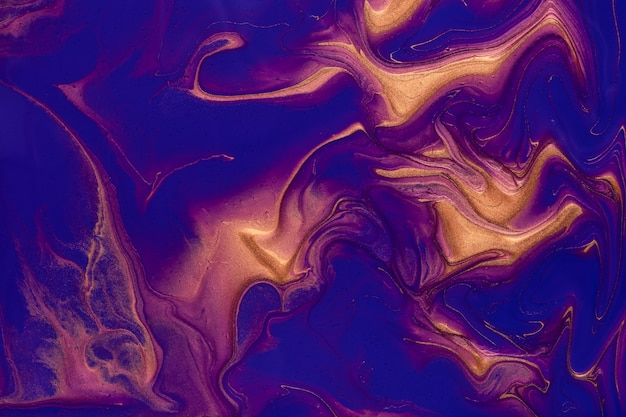 Abstract fluid art background navy blue and bronze colors. liquid marble
