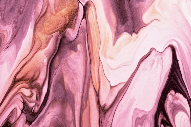 抽象的な流体アートの背景紫とピンクの色。液体大理石。ライラックのグラデーションとスプラッシュとキャンバスにアクリル画。