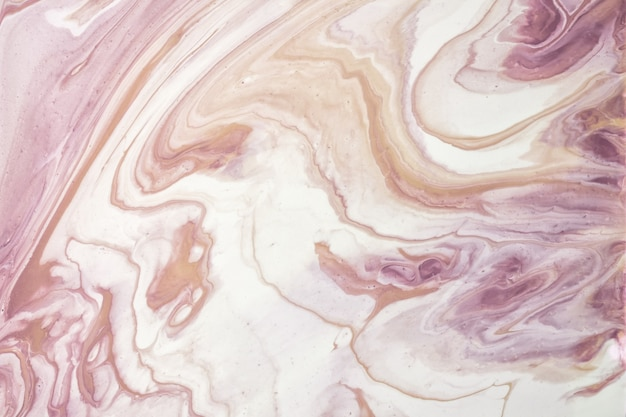 Abstract fluid art background purple and white colors. liquid marble. acrylic painting on canvas with beige gradient and splash. alcohol ink backdrop with lilac waves pattern.