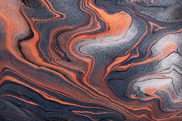추상 유체 예술 어두운 회색과 주황색 색상. 액체 대리석. 그라데이션으로 아크릴 페인팅.