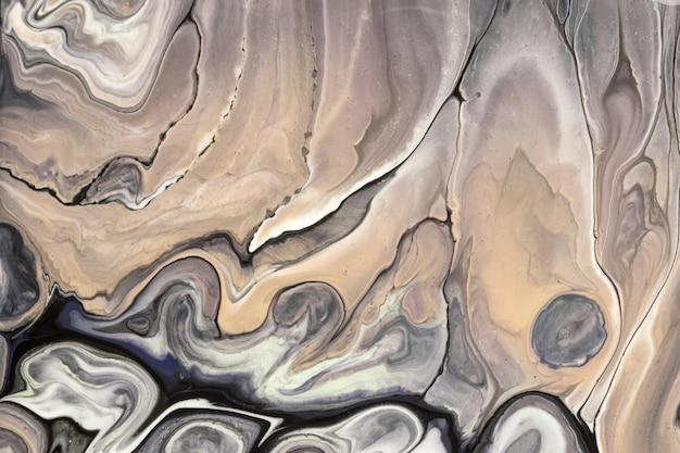 추상 유체 예술 밝은 갈색과 검은 색. 액체 대리석. 베이지 색 그라데이션으로 아크릴 페인팅.
