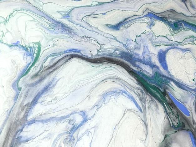 추상 유체 예술 흰색과 파란색 색상. 회색 그라데이션으로 수채화 및 아크릴 페인팅.