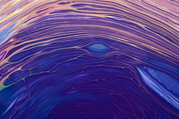 抽象的な流体または液体アートの背景の青と紫の色。キャンバスにアクリル画。ベージュの波模様の水彩画の背景。