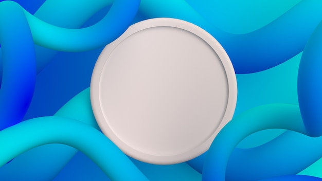 Абстрактные жидкие формы цветной градиентный фон с круглой рамкой