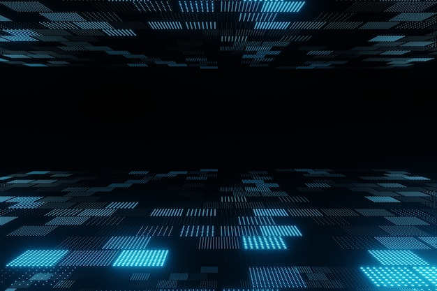 Abstract flying blue particles on black background 3d rendering
