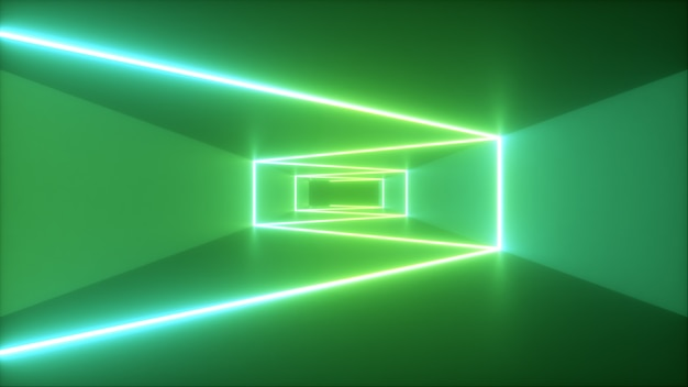Abstract flying in futuristic corridor background