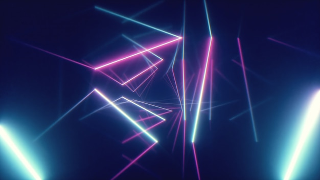 Abstract flying in futuristic corridor with triangles background