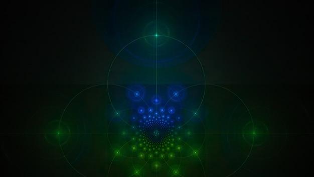 Абстрактный фон фрактального искусства на темном фоне. геометрический орнамент космической туманности. красивая фрактальная иллюстрация