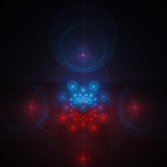 暗い背景に抽象的なフラクタルアートの背景。宇宙星雲の幾何学的な飾り。
