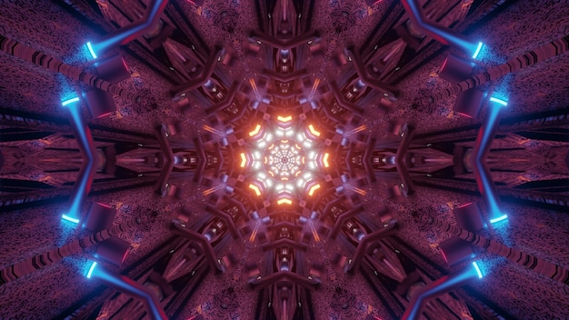 Abstract fractal ornament shining with colorful neon lights in tunnel 4k uhd 3d illustration