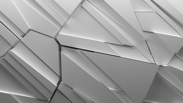 Abstract fractured geometry background made of sliced pieces and randomly shapes, sharp forms with light bounce and shadows