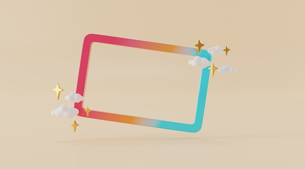 Abstract frame for product design in 3d illustration rendering