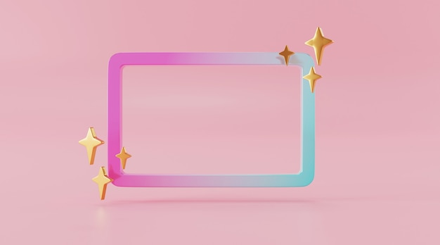 Abstract frame for product designin 3d illustration rendering