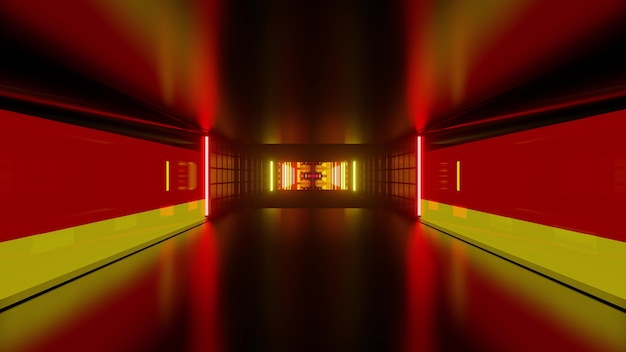 Abstract futuristic 3d illustration of symmetric corridor formed by geometric shapes and colors of german flag