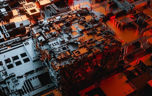 Абстрактная футуристическая и цифровая технология композиции d рендеринга