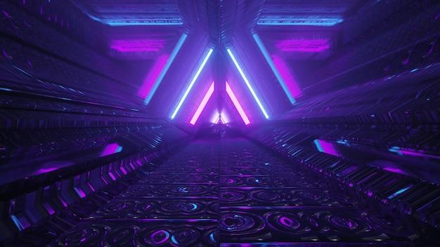 추상 미래 건축 배경 디자인 4k uhd 3d 그림은 빛나는 파란색과 보라색 네온 선이 빛 반사가 있는 삼각형 모양의 장식을 형성하는 어두운 터널 내부에 있습니다.