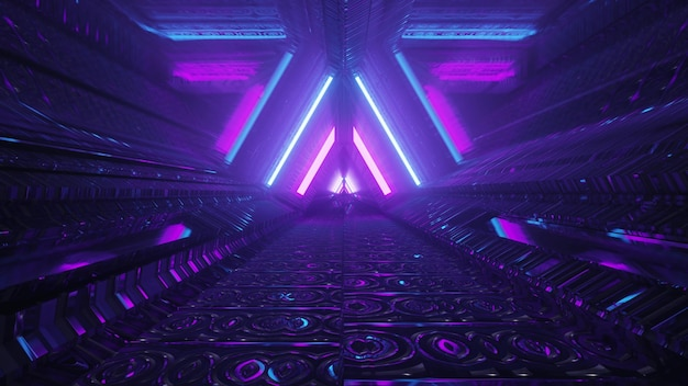 Abstract futuristic architecture background design 4k uhd 3d illustration inside dark tunnel with glowing blue and purple neon lines forming triangle shaped ornament with light reflections