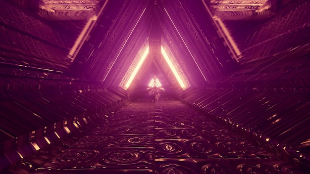 Abstract futuristic architecture background design 4k uhd 3d illustration perspective view through triangle shaped passage with neon lights reflecting in embossed metal panels