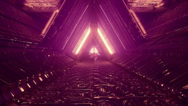 엠보싱 금속 패널에 네온 불빛이 반사되는 삼각형 모양의 통로를 통해 추상 미래 건축 배경 디자인 4k uhd 3d 그림 원근감