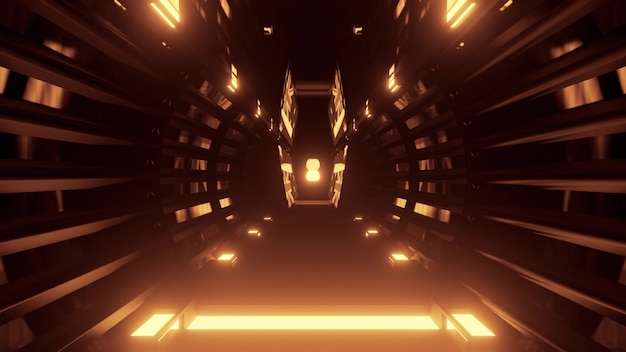 Abstract futuristic architecture background of sci fi tunnel perspective with round shaped design and golden neon lights in 4k uhd 3d illustration