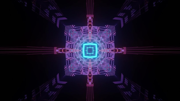 Abstract futuristic background 3d illustration of dark sci fi square shaped tunnel perspective with blue and purple neon lights forming symmetric geometric ornament